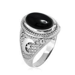 Sterling Silver Black Onyx Islamic Crescent Moon Ring