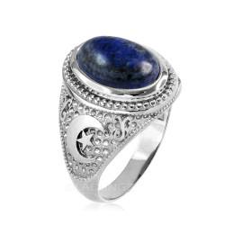 White Gold Lapis Lazuli Islamic Crescent Moon Ring.