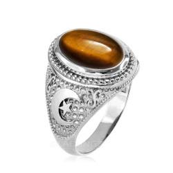White Gold Tiger Eye Islamic Crescent Moon Ring.