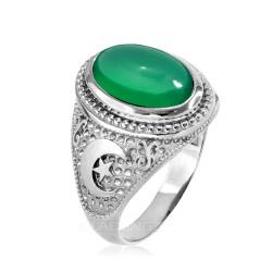 White Gold Green Onyx Islamic Crescent Moon Ring.