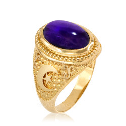 Yellow Gold Purple Amethyst February Birthstone Islamic Crescent Moon Ring.