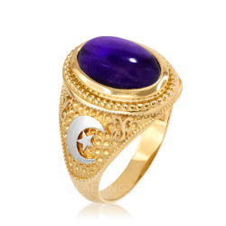 Two-Tone Yellow Gold Purple Amethyst February Birthstone Islamic Crescent Moon Ring.