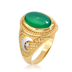 Two-Tone Yellow Gold Green Onyx Islamic Crescent Moon Ring.