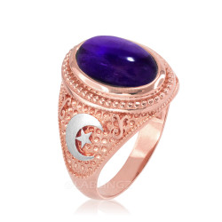 Two-Tone Rose Gold Purple Amethyst February Birthstone Islamic Crescent Moon Ring.