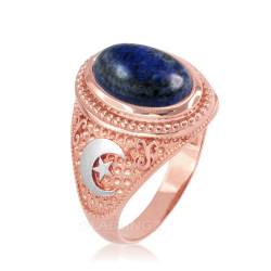 Two-Tone Rose Gold Lapis Lazuli Islamic Crescent Moon Ring.