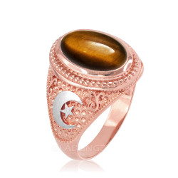 Two-Tone Rose Gold Tiger Eye Islamic Crescent Moon Ring.