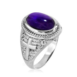 Sterling Silver Purple Amethyst February Birthstone Christian Cross Ring