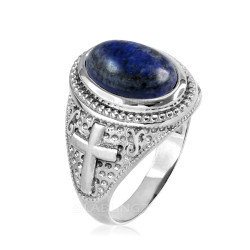 Sterling Silver Lapis Lazuli Gemstone Christian Cross Ring