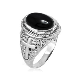 Sterling Silver Black Onyx Gemstone Christian Cross Ring