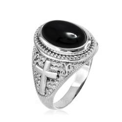 White Gold Black Onyx Christian Cross Gemstone Ring