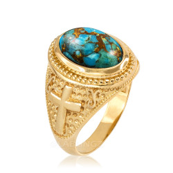 Yellow Gold Blue Copper Turquoise Christian Cross Gemstone Ring