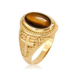 Yellow Gold Tiger Eye Christian Cross Gemstone Ring