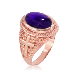 Rose Gold Purple Amethyst February Birthstone Christian Cross Ring