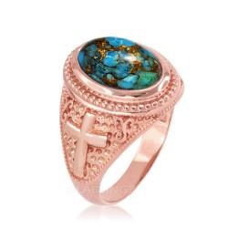 Rose Gold Blue Copper Turquoise Christian Cross Gemstone Ring