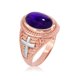 Two-Tone Rose Gold Purple Amethyst February Birthstone Christian Cross Ring
