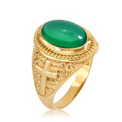 Yellow Gold Green Onyx Christian Cross Gemstone Ring
