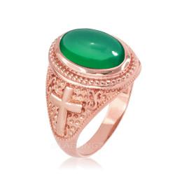 Rose Gold Green Onyx Christian Cross Gemstone Ring