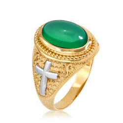 Two-Tone Yellow Gold Green Onyx Christian Cross Gemstone Ring