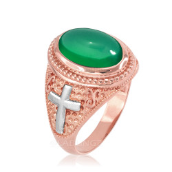 Two-Tone Rose Gold Green Onyx Christian Cross Gemstone Ring