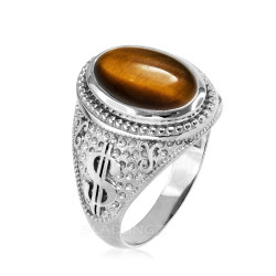 White Gold Cash Money Dollar Tiger Eye Statement Ring