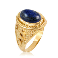 Yellow Gold Cash Money Dollar Lapis Lazuli Statement Ring