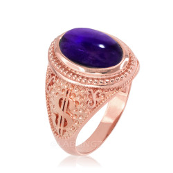 Rose Gold Purple Amethyst February Cash Money Dollar Sign Birthstone Ring