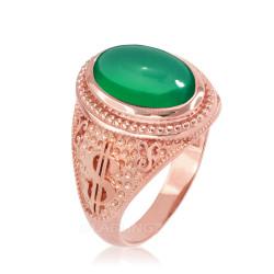 Rose Gold Cash Money Dollar Green Onyx Statement Ring