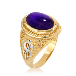 Two-Tone Yellow Gold Purple Amethyst February Cash Money Dollar Sign Birthstone Ring