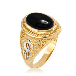 Two-Tone Yellow Gold Cash Money Dollar Black Onyx Statement Ring