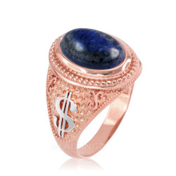 Two-Tone Rose Gold Cash Money Dollar Lapis Lazuli Statement Ring