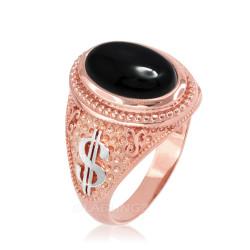 Two-Tone Rose Gold Cash Money Dollar Black Onyx Statement Ring