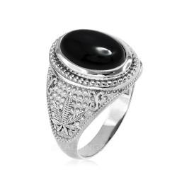 White Gold Marijuana Weed Black Onyx Statement Ring