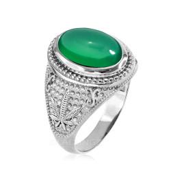 White Gold Marijuana Weed Green Onyx Statement Ring