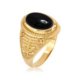 Yellow Gold Marijuana Weed Black Onyx Statement Ring