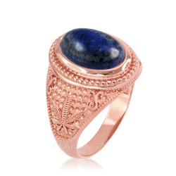 Rose Gold Marijuana Weed Lapis Lazuli Statement Ring