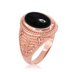 Rose Gold Marijuana Weed Black Onyx Statement Ring