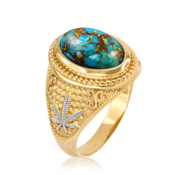 Two-Tone Yellow Gold Marijuana Weed Blue Copper Turquoise Statement Ring