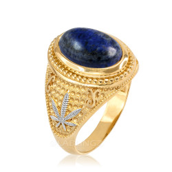 Two-Tone Yellow Gold Marijuana Weed Lapis Lazuli Statement Ring
