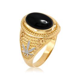 Two-Tone Yellow Gold Marijuana Weed Black Onyx Statement Ring