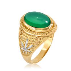 Two-Tone Yellow Gold Marijuana Weed Green Onyx Statement Ring
