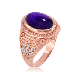 Two-Tone Rose Gold Marijuana Weed Purple Amethyst February Birthstone Ring