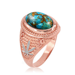 Two-Tone Rose Gold Marijuana Weed Blue Copper Turquoise Statement Ring