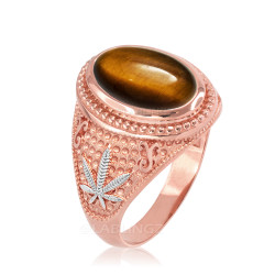 Two-Tone Rose Gold Marijuana Weed Tiger Eye  Statement Ring