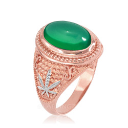 Two-Tone Rose Gold Marijuana Weed Green Onyx Statement Ring