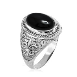 Sterling Silver Black Onyx Fleur De Lis Gemstone Ring
