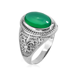 Sterling Silver Green Onyx Fleur De Lis Gemstone Ring