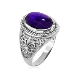 White Gold  Purple Amethyst February Fleur De Lis Birthstone Ring