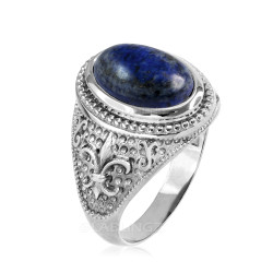 White Gold Lapis Lazuli Fleur De Lis Gemstone Ring