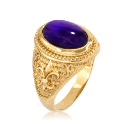 Yellow Gold  Purple Amethyst February Fleur-De-Lis Birthstone Ring
