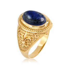 Yellow Gold Lapis Lazuli Fleur De Lis Gemstone Ring